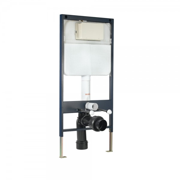 Pneumatic Single Piece Slim In-wall Cistern with Floor Mounting Frame