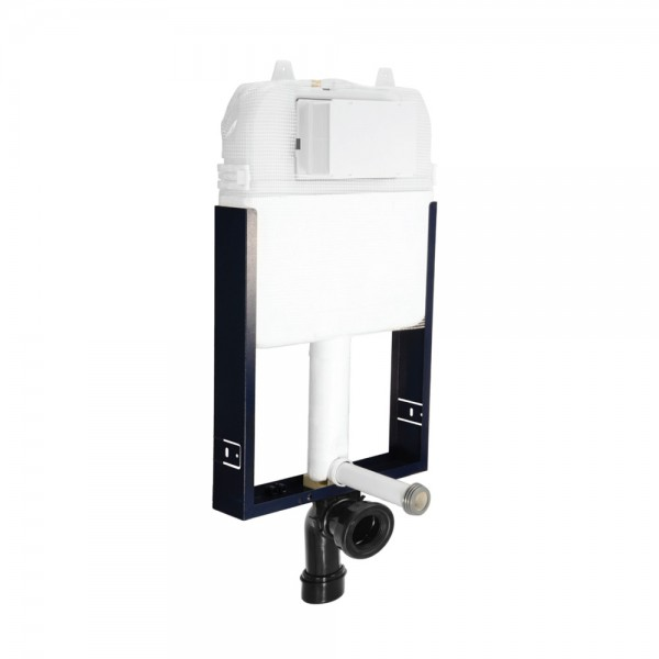 Pneumatic Single Piece Slim In-wall Cistern with Wall Mounting Frame