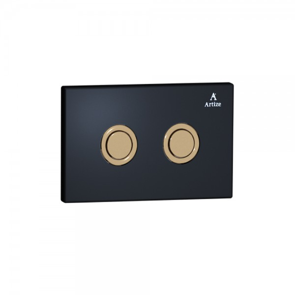 Cilica pneumatic black glass control plate Black Glass with Rose Gold Actuator